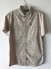 Men's Rusty Button Front All Over Check Short Sleeve Surf Shirt Small