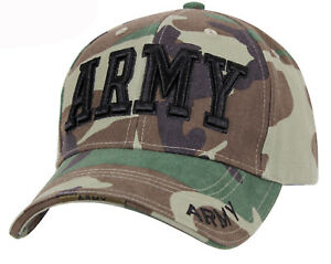 US MILITARY ARMY WOODLAND CAMOUFLAGE Hat Cap US Flag Brim