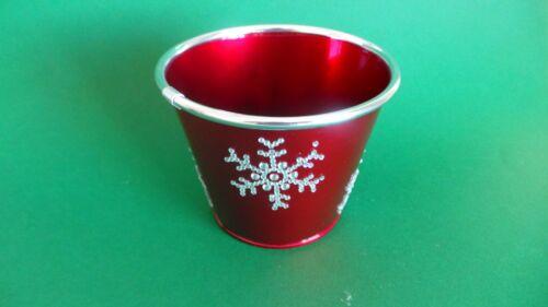 SNOWFLAKE CHRISTMAS 20cm METAL PLANT POT HOLDER TIN PLANTER RED NEW
