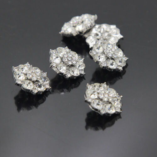8Pcs clair strass cercle fleur cristal boutons ton argent Sewing Craft New