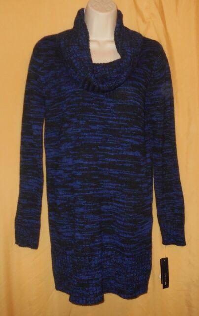 cfc64d9b64 AB Studio women s royal blue black marbled ls cowl turtle neck sweater top  M  50