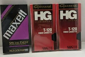 Lot of 3 VHS Blank Tapes-Maxwell HGX-Gold 120/ 2 Garrand GH T-120 Video Cassette