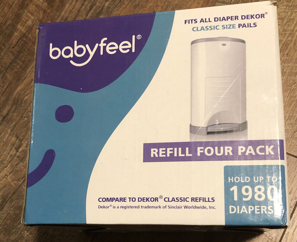 Fits Dekor Plus Diaper Pails Dekor Plus Refill Bags by Mini Things 4 Pack Diaper Dekor Plus Refills Holds up to 2360 Diapers Includes 4 Bamboo Charcoal Deodorizers for Odor Elimination