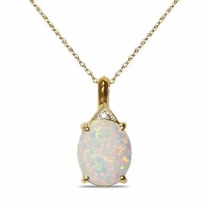 high quality brand new reliable quality Diamond Accent Created Opal October Birthstone Necklace Pendant ...