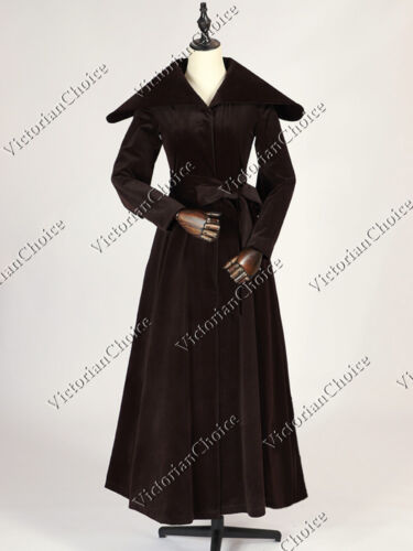 Old Fashioned Dresses | Old Dress Styles    Edwardian 1920s Vintage Velvet Trench Changeling Coat Steampunk Clothing C043  AT vintagedancer.com