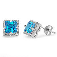 Halo Princess Cut Blue Cz .925 Sterling Silver Stud Earrings on sale