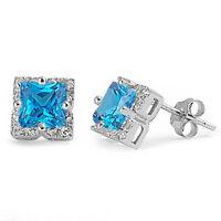 Halo Princess Cut Blue Cz .925 Sterling Silver Stud Earrings on sale