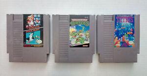 Lot-de-3x-Nintendo-NES-Jeux-chariots-uniquement-Super-mario-Bros-Duck-Hunt-Teenage-Mutant-Ninja