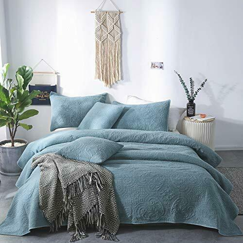 100/% Cotton Stone Washed Coverlet Ultra Soft Bedspread Comforter Quilt Set Queen