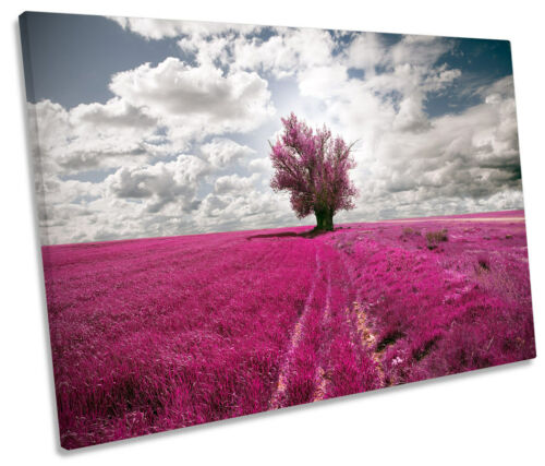 Purple Landscape Tree Floral SINGLE CANVAS WALL ART Picture Print