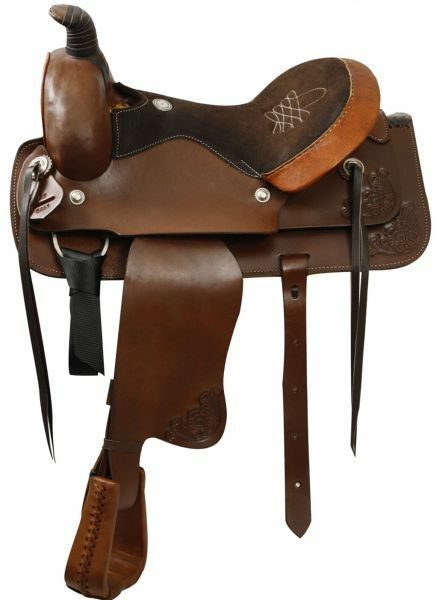 Buffalo Saddlery ROPING Style Western SADDLE Suede Embroidered Seat SQHB
