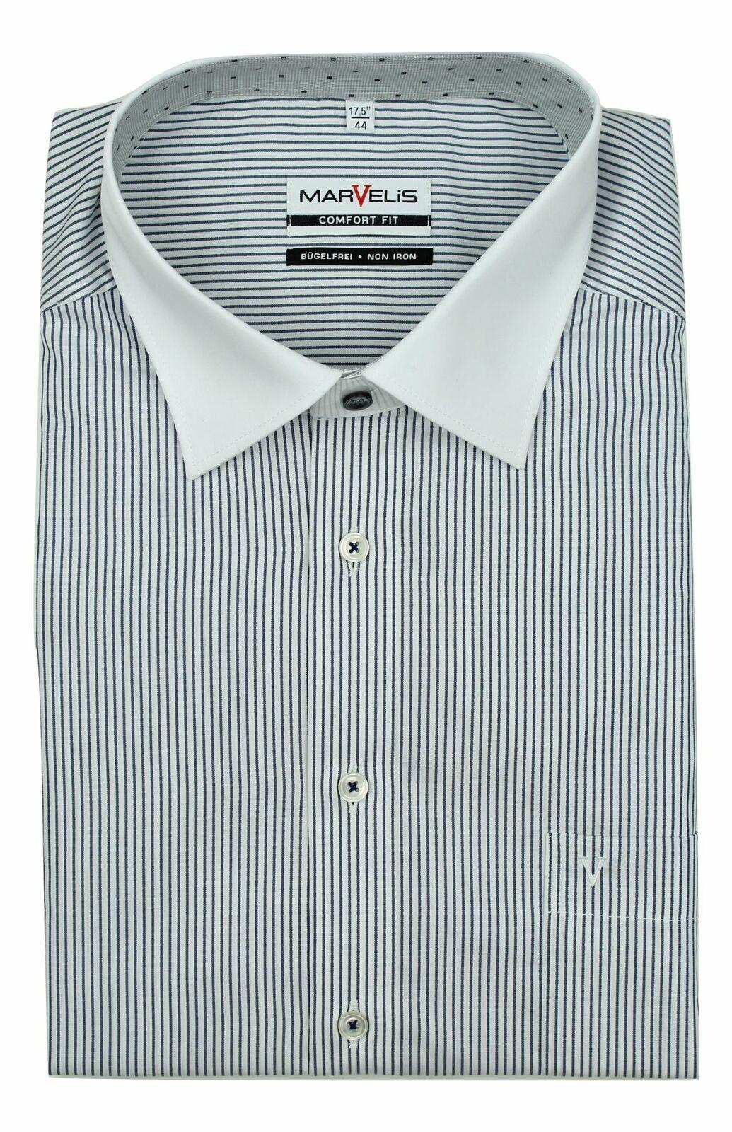 Navy Stripe Contrast White Collar