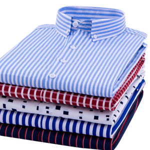 New-Men-039-s-Business-Casual-Luxury-Shirts-Long-Sleeves-Formal-Camisas-6448