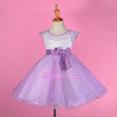 Polka Dot Pattern Tulle Dress Flower Girl Pageant Party Dresses Size 2T-8 #243