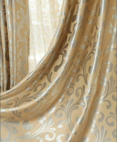 2 X Blockout Eyelet Curtains Scroll Blackout Gold Latte Beige 240cm x 230cm Pair