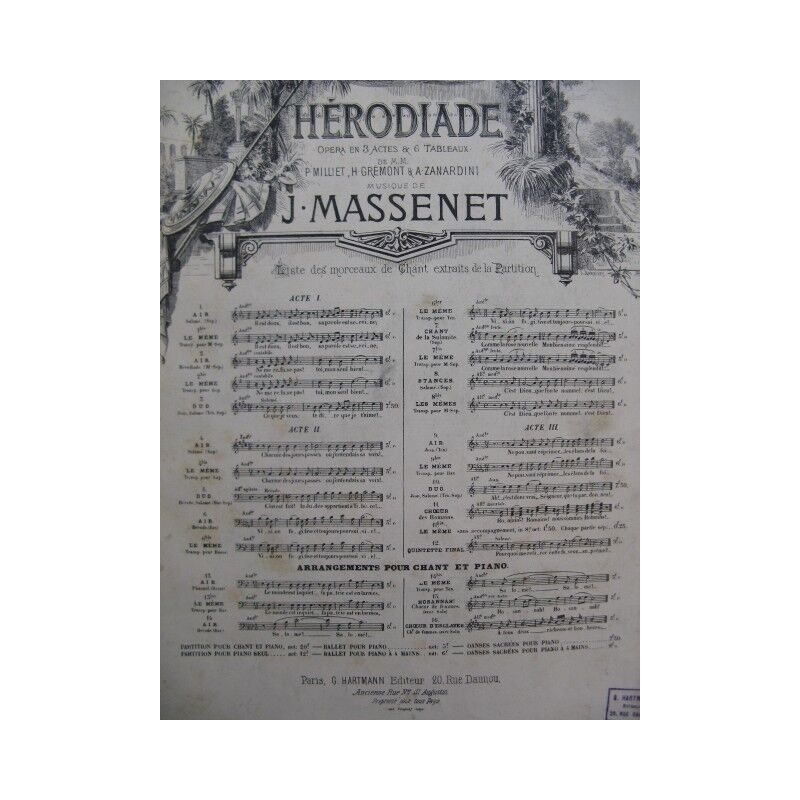 MASSENET Jules Hérodiade Air Chant Orchestre XIXe partition sheet music score