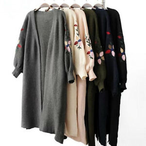 Details about Good Women Long Cardigan Sweater Winter Knitted Poncho Women  Sweaters Coats