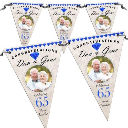 Zafiro 65th Personalizado Aniversario De Bodas Foto Bandera empavesado N57