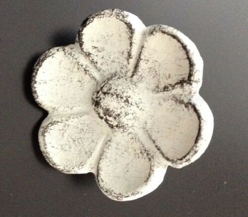 """Cast Iron Flower Knobs 2/"""" Drawer Pulls Distressed White Shabby Victorian 3WC"""