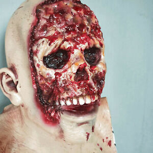 Creepy-Scary-Melting-Face-Zombie-Latex-Mask-Horror-Halloween-Costume-Party-Props