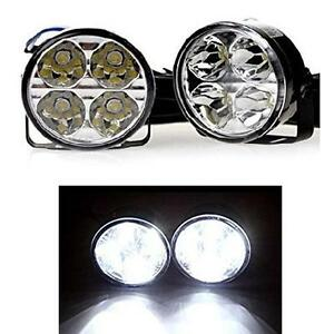 2 x 70mm round 6000k led drl daytime running lights universal citroen c5 c6 ebay. Black Bedroom Furniture Sets. Home Design Ideas