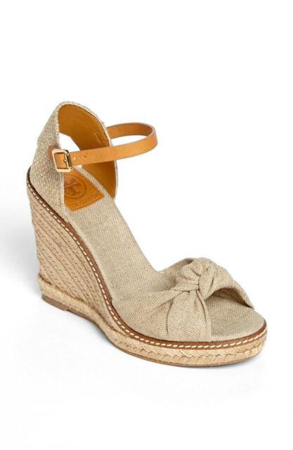 8a8e38bb934c Sz.10Tory Burch Macy Linen Wedge Platform Espadrille Sandal Natutral Beige  Shoes