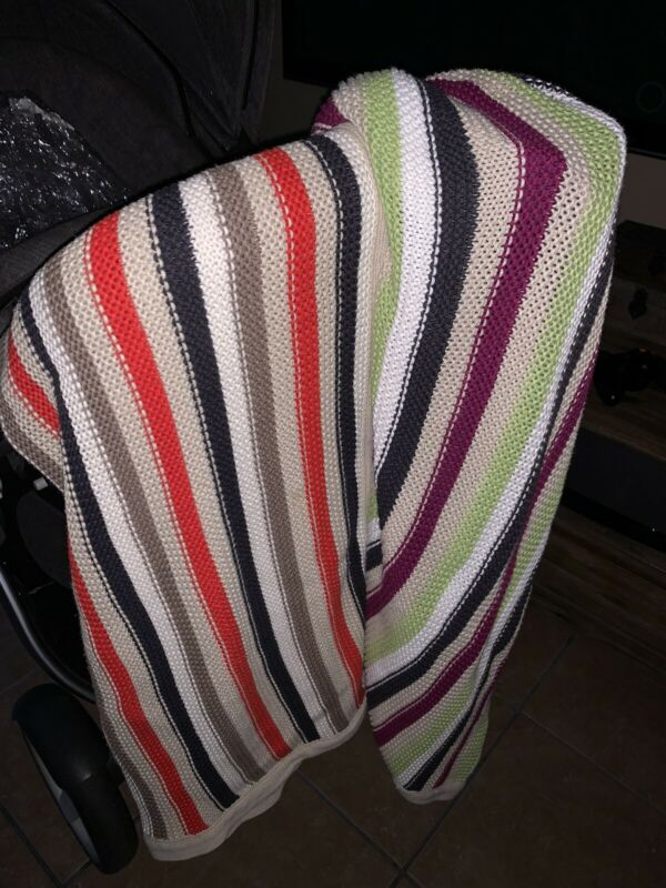 Green and Purple Stripped Knitted Stokke Blanket