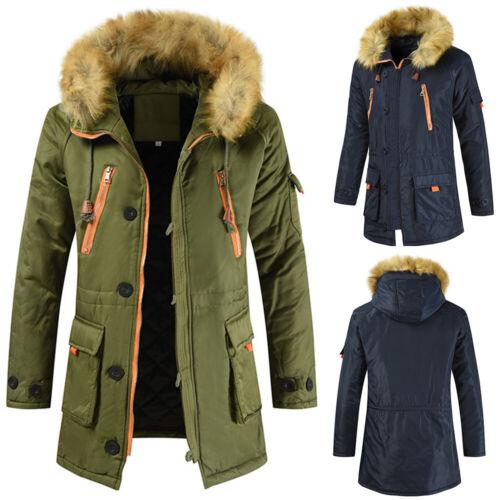 Men Winter Warm Fur Collar Coat Hooded Hoodies Windbreaker Parka Overcoat Jacket