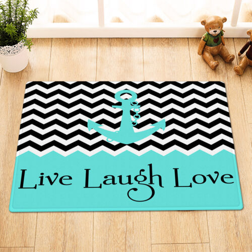 Anchor Live Laugh Love Shower Curtain Set Polyester Fabric Bathroom w//12 Hooks