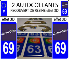 2 stickers plaque immatriculation auto TUNING DOMING 3D RESINE RHONE ALPES 69