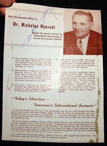 CIRCA 1950 AUTOGRAPH HUNGARIAN NICHOLAS NYARDADI CONTROVERSIAL ANTI COMMUNIST
