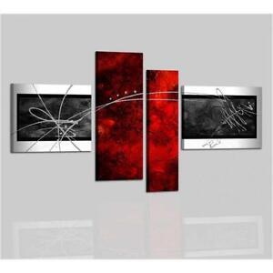 Quadri moderni astratti dipinti a mano rosso grigio con for Quadri moderni a rilievo