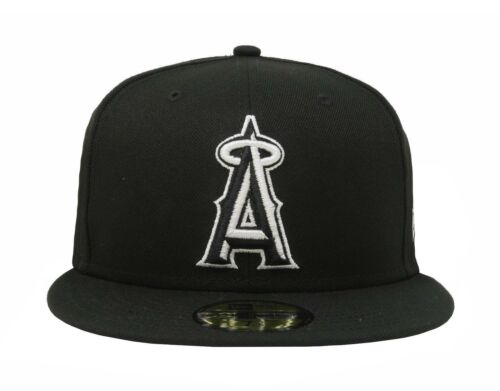 New Era 59Fifty Hat Fitted Los Angeles Angels Of Anaheim Black White 5950 Cap