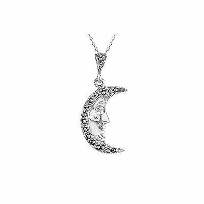 Marcasite Necklace Man in the Moon Pendant 18 Inch Chain 925 Sterling Silver