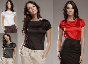 T-shirt-haut-satin-chemisier-femme-rouge-blanc-gris-noir-Nife-B15-36-38-40-42-44