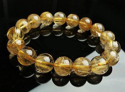 Huge new 13 mm Natural Brazil Gold Rutilated Quartz Crystal Beads Bracelet AAAA