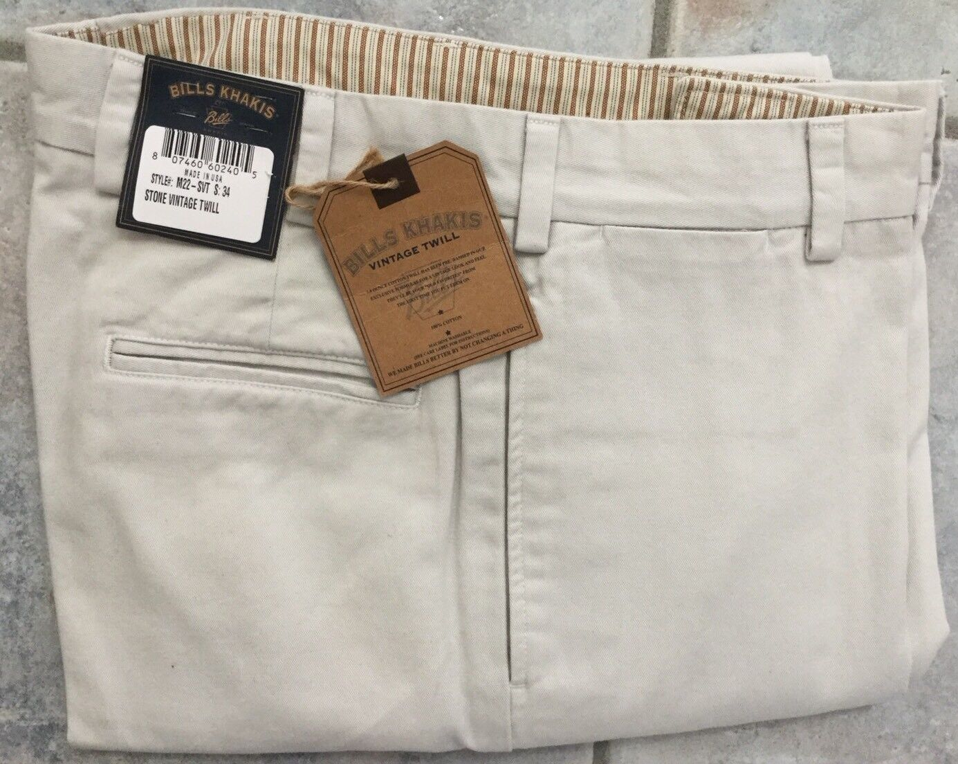 BRAND NEW -Bills khakis M34-SVT Size 34X34 TRIM FIT VINTAGE TWILL Stone