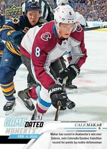 2019-20-UD-GAME-DATED-MOMENTS-48-CALE-MAKAR-COLORADO-AVALANCHE-ROOKIE-RECORD