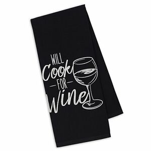 Details About Will Cook For Wine Dish Towel Tea Kitchen New 100 Cotton Black