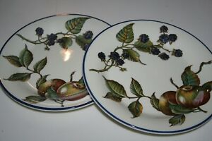 5-Pier-1-Macintosh-Fruit-Pattern-8-034-Salad-Side-Dessert-Plates-VGUC