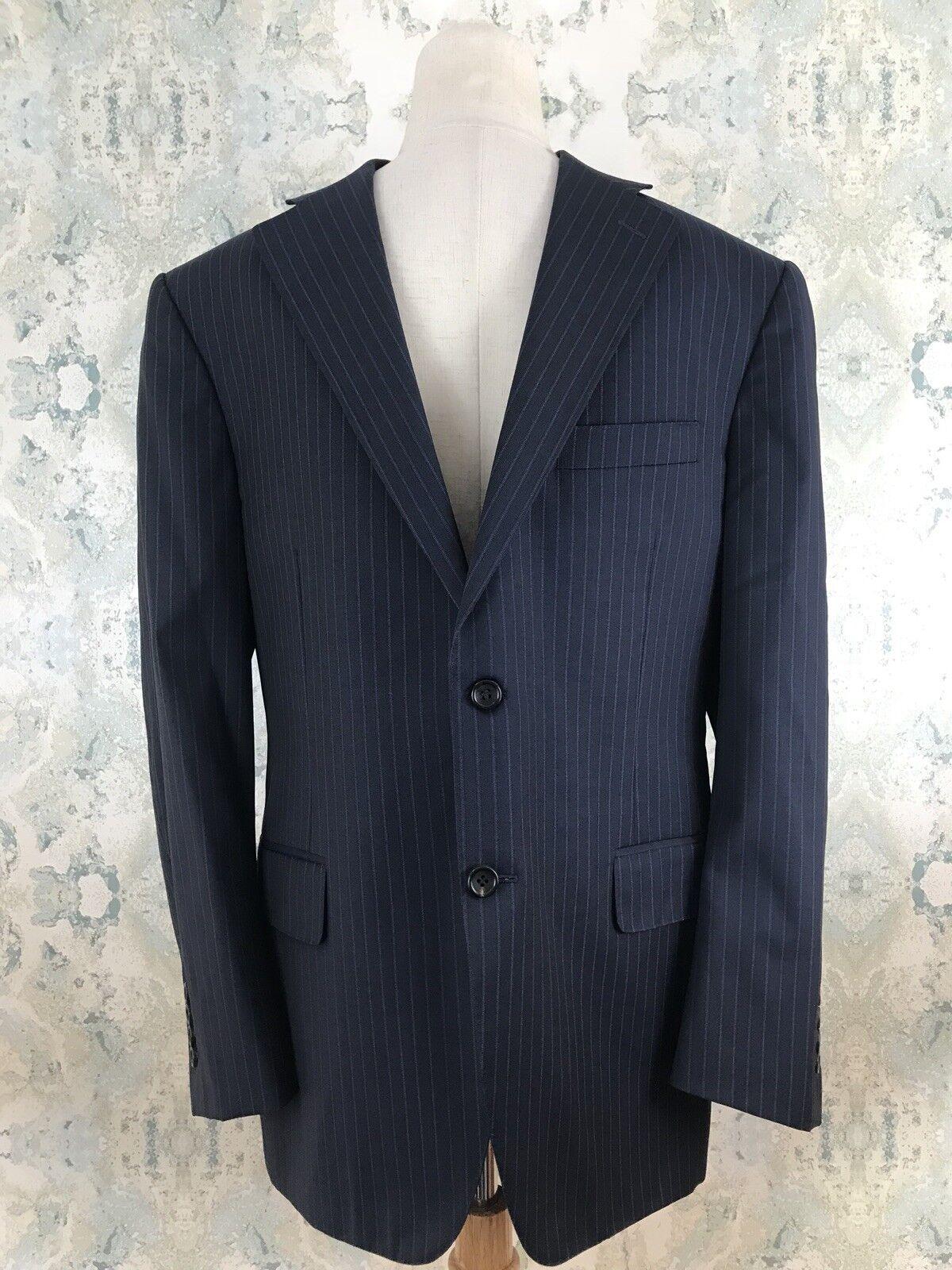 Canali Siena Blau Pinstripe Wool Italian Career Geschäft Blazer Sport Coat 42 S