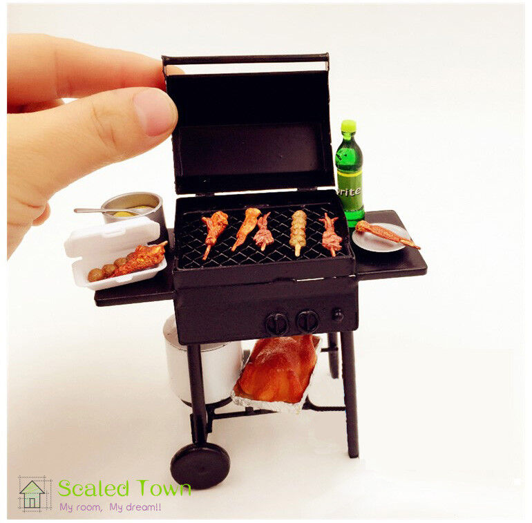 1:12 Dollhouse Miniature Black BBQ Grill Dollhouse Garden Outdoor Accessory TS