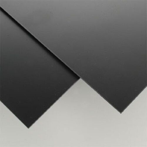 """BLACK STYRENE POLYSTYRENE PLASTIC SHEET .080"""" 8"""" X 12"""" PRINTING CRAFTS MODELS"""