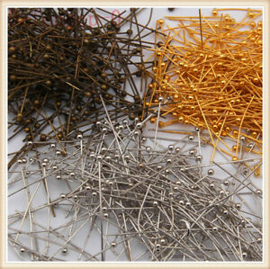 Wholesale-Jewelry-Ball-Head-Plated-Pins-Silver-Finding-100PCS-16-20-30-40-50mm