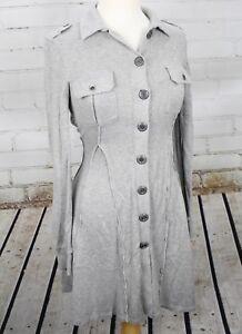Free People Sweater Dress Jacket Long Cardigan Coat Xs Gray Cotton