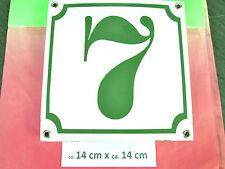 Emaille-Hausnummer Nr. 8 grüne Zahl auf weißem Hintergrund 14 cm x 14 cm