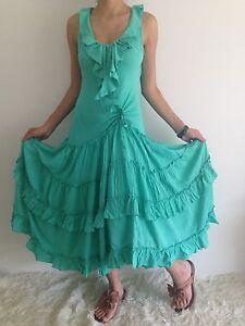 Women-Sleeveless-Boho-Gypsy-Floaty-Summer-Maxi-Casual-Dress-Siz-8-10-12-14-16-18
