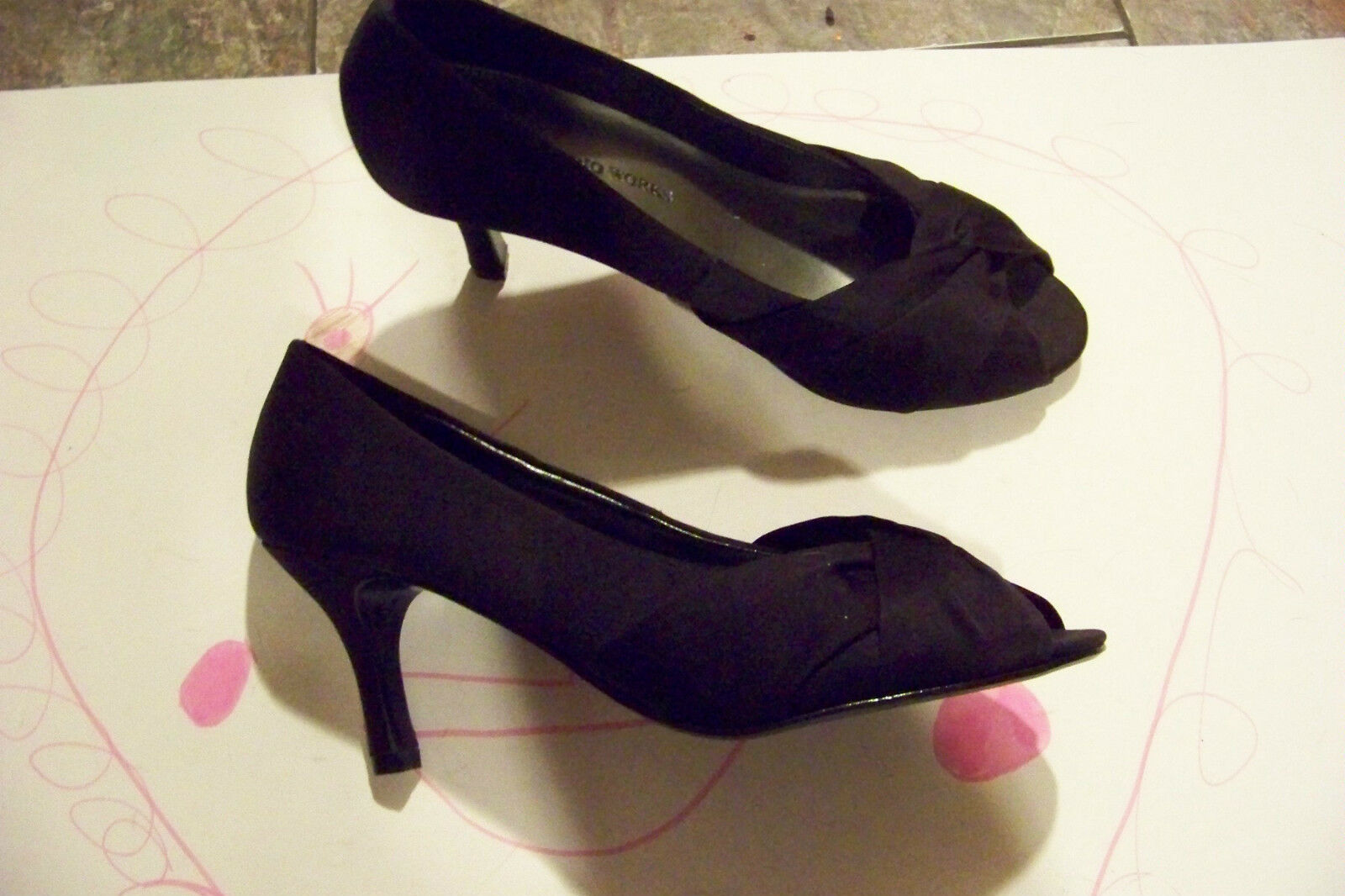 womens studio works black shoes fabric open toe heels shoes black size 6 b0722e