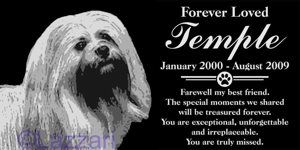 Personalized Lhasa Apso Dog Granite Pet Memorial 12x12 Inch Engraved Grave Marker Plaque Tara