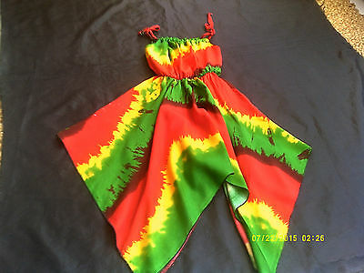 RASTA COLOUR HANKYCHEIF HEM DRESS...AGE 4-6yrs and 6-8yrs...NEW ARRIVAL TIE DYE
